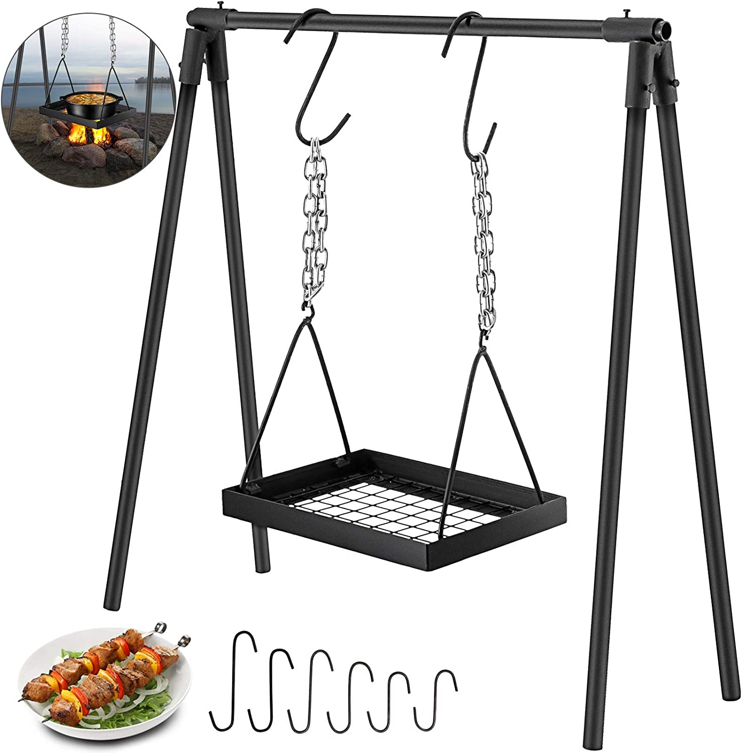 VBENLEM Swing Grill Campfire Cooking Stand Outdoor Picnic Cookware Bonfire Party Equipment,Adjustable Heightwith Hooks, Black
