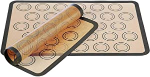 Silicone Baking Mats Non-Stick 2 Pack, Food Safe Baking Mat Silicone Pastry Mat Heat-Resistant Reusable Oven Cooking Liners - Bake Pastry & Cookie & Macarons & Pizza & Bread 16.5 X 11.6 Inches (Gray)