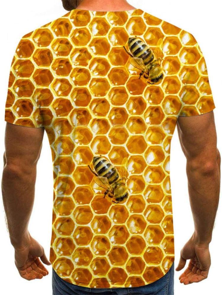 LYLLXL Imprim/é 3D T-Shirt,Tendance Nouveaut/é Dor/é Nid dabeille Graphique T-Shirt D/écontract/é Respirant /Ét/é Ras du Cou /À Manches Courtes Chemisier Hauts pour Hommes Femmes F/ête Carnaval Plage