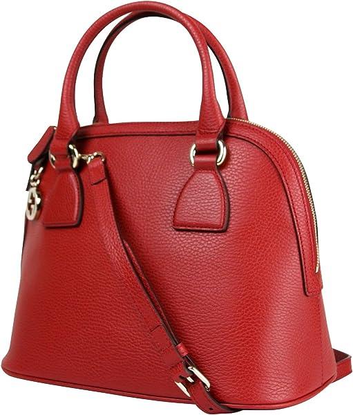 db2e83438153 Gucci GG Charm Red Leather Medium Convertible Dome Bag 449662 6420 ...