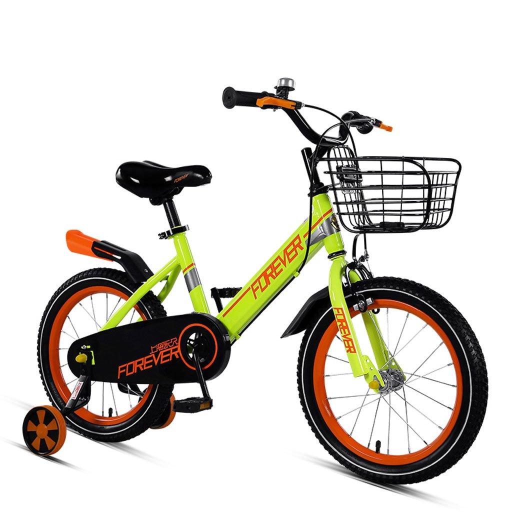 子供用自転車3-5歳の自転車14インチの男の子と女の子の赤ちゃんキャリッジハイカーボンスチール自転車、ピンク/オレンジグリーン/ブラックレッド (Color : Orange green)   B07CVV9W62
