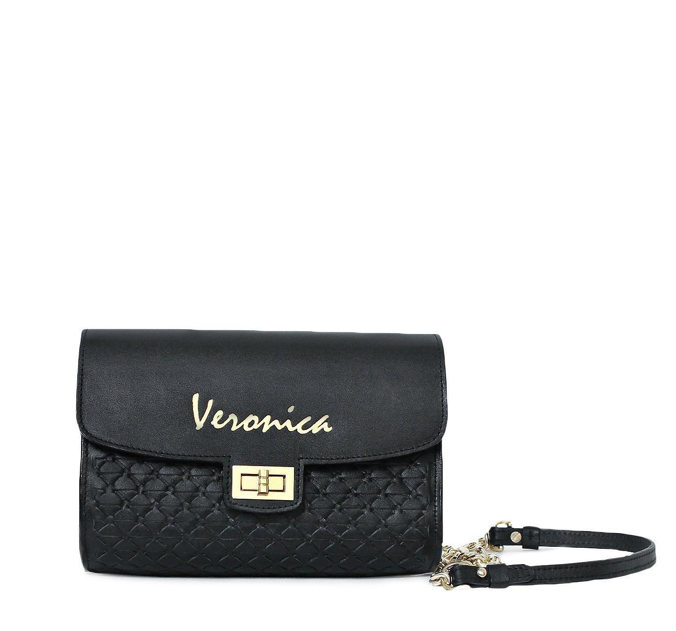 ALAYLA personalized woven black leather clutch handbag - Leather shoulder bag with gold hardware - Alel