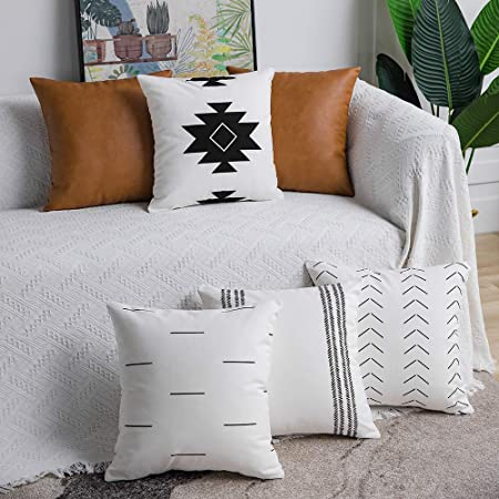 Dezene Decorative Throw Pillow Covers Set Of 6 Modern Boho Square Cotton And Faux Leather Pillow Cases For Home Decor Living Room Farmhouse Sofa Couch 18 X 18 Inch White Black Brown Amazon Ca Home Kitchen