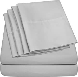 Sweet Home Collection 7 Piece 1500 Thread Count Brushed Microfiber Deep Pocket Sheet Set - 2 EXTRA PILLOW CASES, VALUE Split King Silver