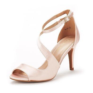 26d66c84a45cb7 DREAM PAIRS Women s NILE Champagne Fashion Stilettos Open Toe Pump Heel  Sandals Size 5 B(