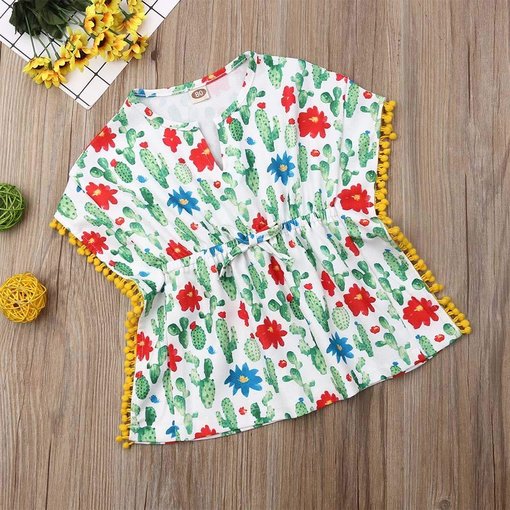Kids Baby Girls Swim Cover-up Tassel Beach Sundress Swimsuit Summer Poncho Sun Protection Dress Playwear