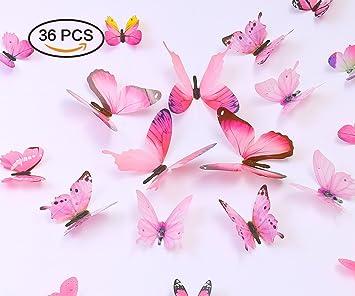 Amazoncom kakuu 36PCS Butterfly Wall Decals 3D Butterflies wall