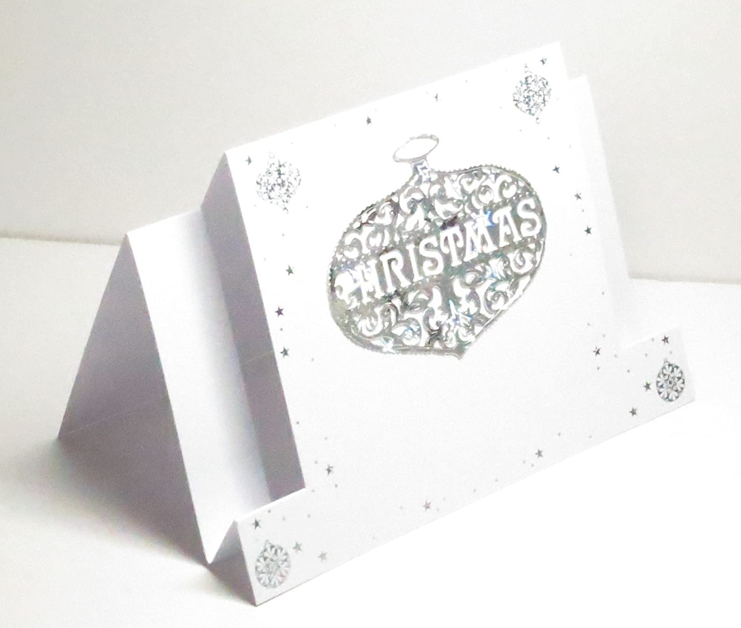 Limited Edition Blank Inside 1 in stock Handmade Holographic Silver Stars /& White Christmas Bauble//Ornament Centre Stepper Greeting Card