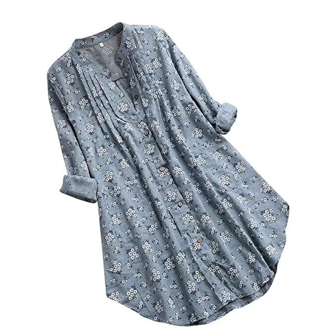 8978b189b54 Funic Spring Womens Plus Size Peasant Blouse V-Neck Pleated Floral Print  Long Sleeve Casual