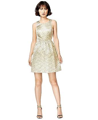Amazon Com Kensie Womens Metallic Open Back Cocktail Dress Gold M