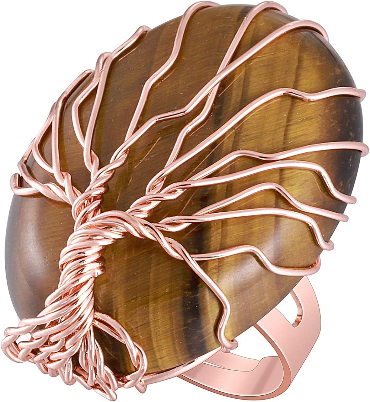 Jovivi - Anillo Ajustable de Metal con árbol de la Vida y Piedra Preciosa elíptica, Color Claro, Regalo para Mujer