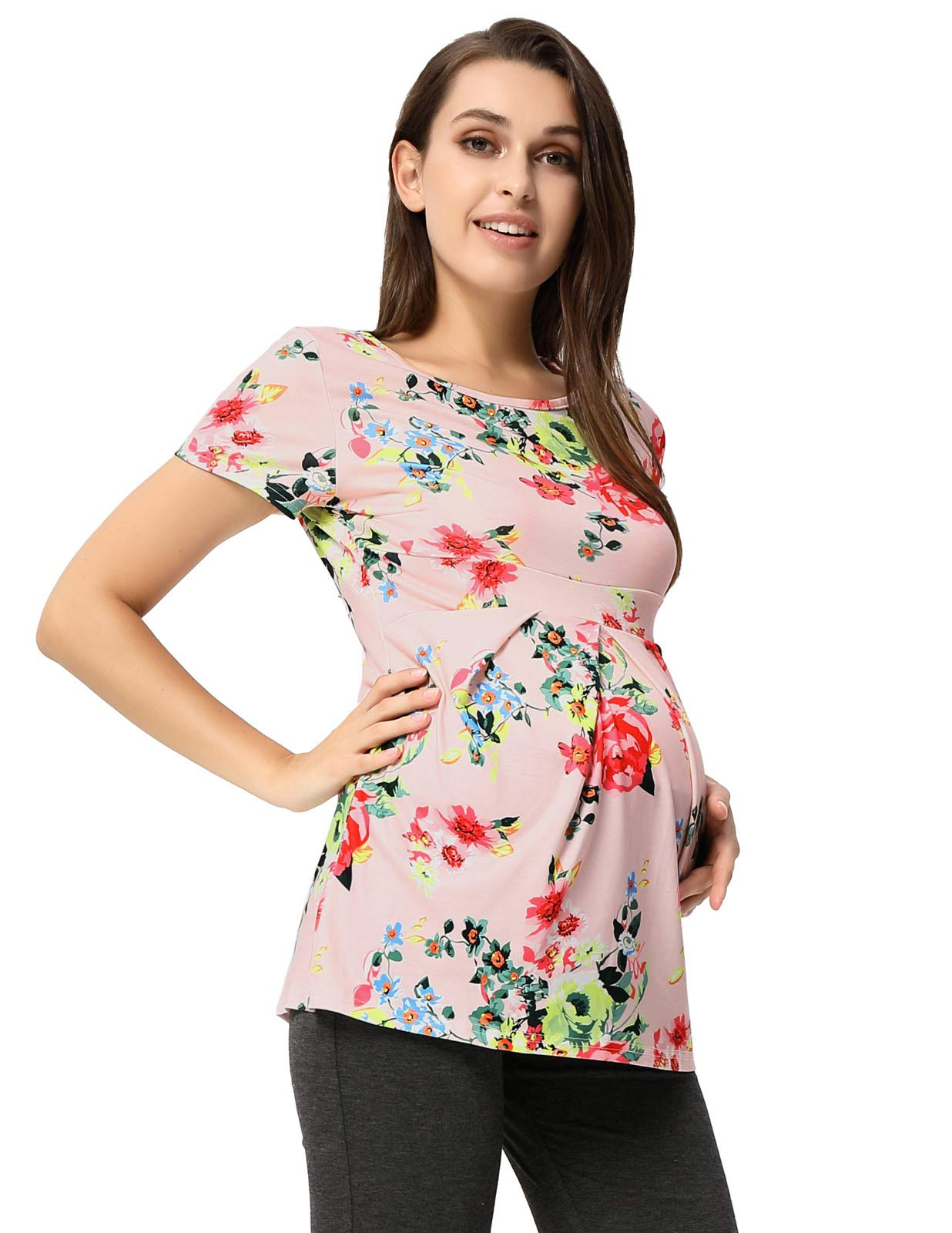 GRACE KARIN Maternity Front Pleated Ultra Soft T-Shirt Tops CL10721-1 M