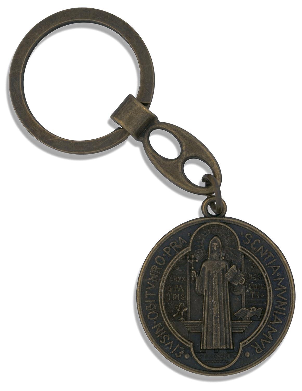 Amazon.com: San Benito de bronce antiguo clave Cadena ...