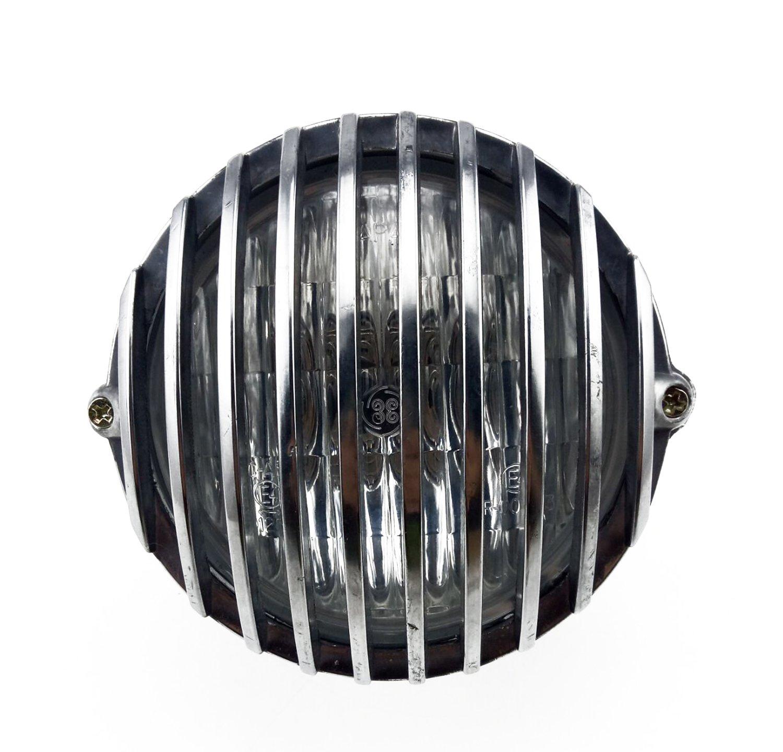 Chrome TASWK 5 Motorcycle Headlight Grill Prison Chopper Bobber Head Lamp