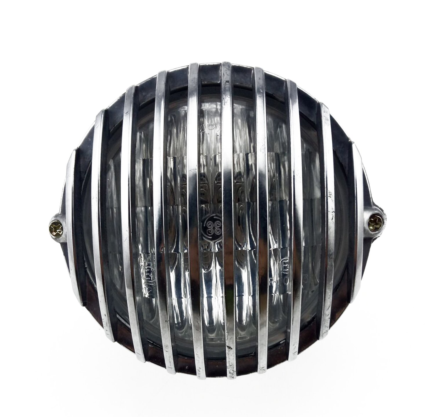 TASWK 5'' Motorcycle Headlight Grill Prison Chopper Bobber Head Lamp (Chrome)