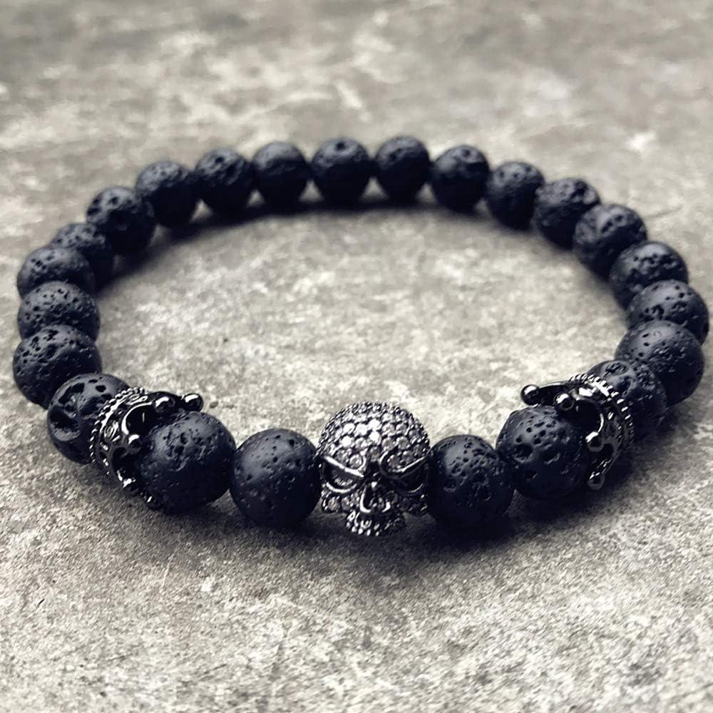 Couleur Noir d/étails de Cr/âne Couronne Homme Lave King Volcan EXINOX Bracelet Volcanique