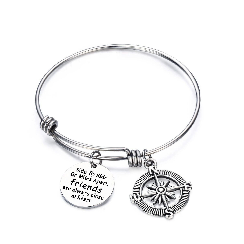 Best Friends Side by Side Or Miles Apart Necklace Bracelet Keychain Friendship Jewelery KUIYAI