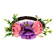 DreamLily NewBorn Baby Flower Crown Birthday Hair Band Baby Shower HairBand for Little Girl Toddler BB10 (Z-Pink Purple)