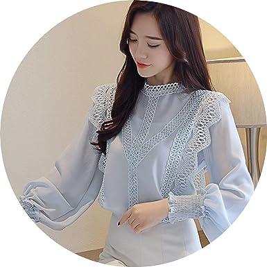66de625035f 2019 White Hollow lace Chiffon Blouse Shirt Long Sleeve Womens Tops ...