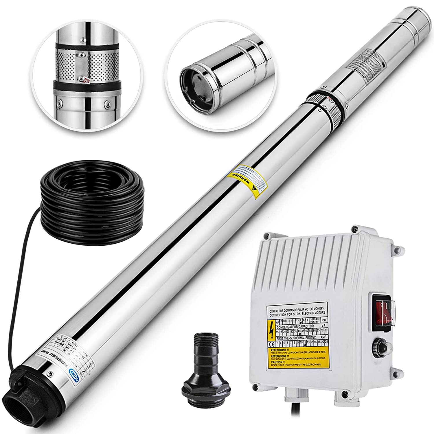 happybuy deep well submersible pump 3hp 220v submersible well pump 630ft  42gpm stainless steel deep well pump for industrial and home use - -  amazon com