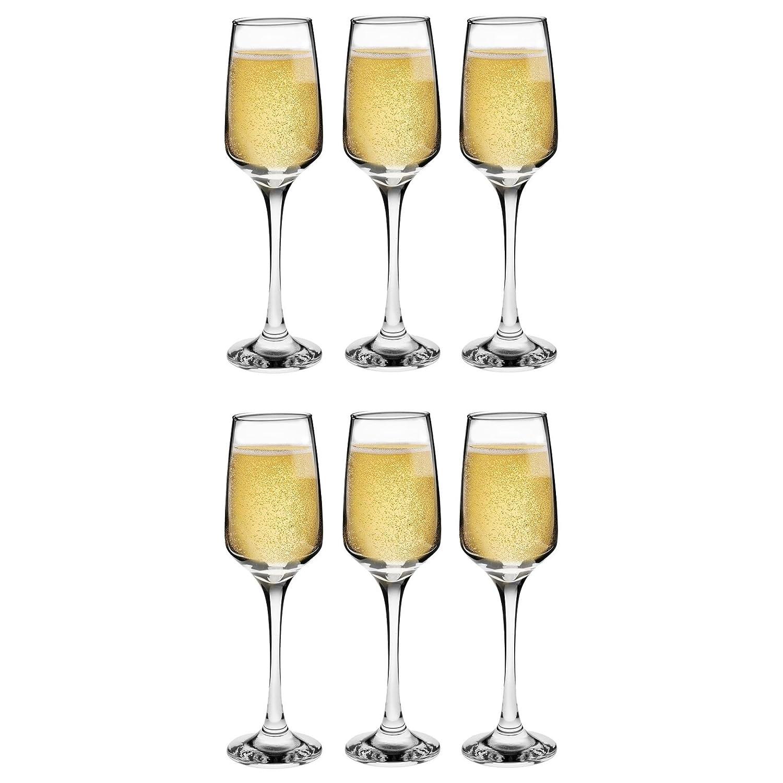 Argon Tableware 'Tallo' Contemporary Champagne Flutes - Gift Box Of 6 Glasses - 230ml (8oz)