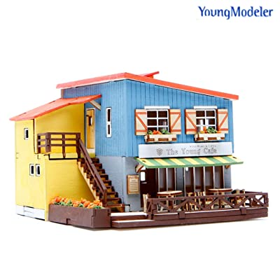 Desktop Wooden Model Kit Cafe in House by Young Modeler: Toys & Games