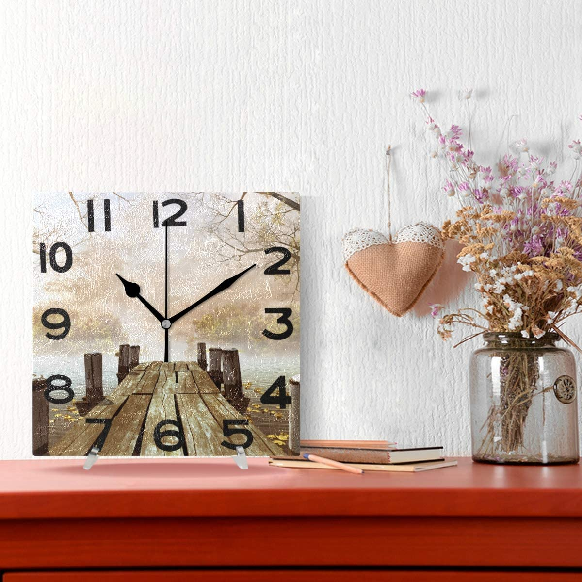 8 Inch Battery Operated Quartz Analog Quiet Desk Clock for Home,Office,School ZzWwR Chic Beautiful Sunny Sunflowers Oil Painting On Canvas Print Square Wall Clock