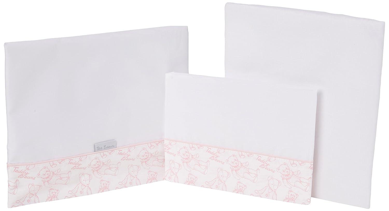 Petit Lazzari Teddy - Juego de 3 sábanas para capazo, cuco o moisés, 35x75 cm, color rosa Lazzari Textil S.L.