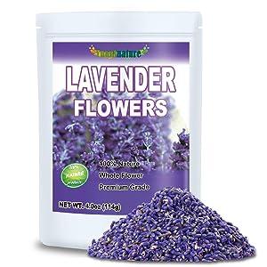 Premium Lavender Flowers, Dried Lavender Flower Buds for Tea, Food, Baking, Baths (6.0 oz)
