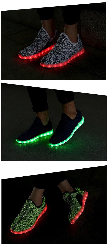 Honeystore Damen Herren Turnschuhe Licht Luminous 7 Farben Unisex USB Lade Outdoor Leichtathletik beiläufige Paare Schuhe Grün 30 CN 3Nsp8ta