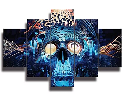 Halloween Decoration Painting Face Projects Navy Blue Skeletons Canvas Wall Art Day Of The Dead Pictures Figures Abstract Artwork Framed For Living