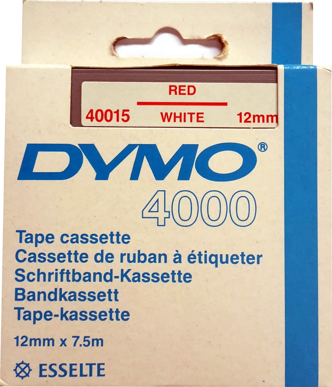 12mm x 7,5m f/ür DYMO 4000 Dymo Schriftband-Kassette 40015 rot auf wei/ß