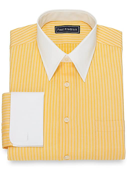 1920s Style Mens Shirts | Peaky Blinders Shirts and Collars Paul Fredrick Mens Slim Fit Herringbone Dress Shirt $84.50 AT vintagedancer.com