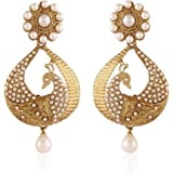 I Jewels Traditional Gold Plated Peacock Shaped Pearl Earrings for Women EM2251W