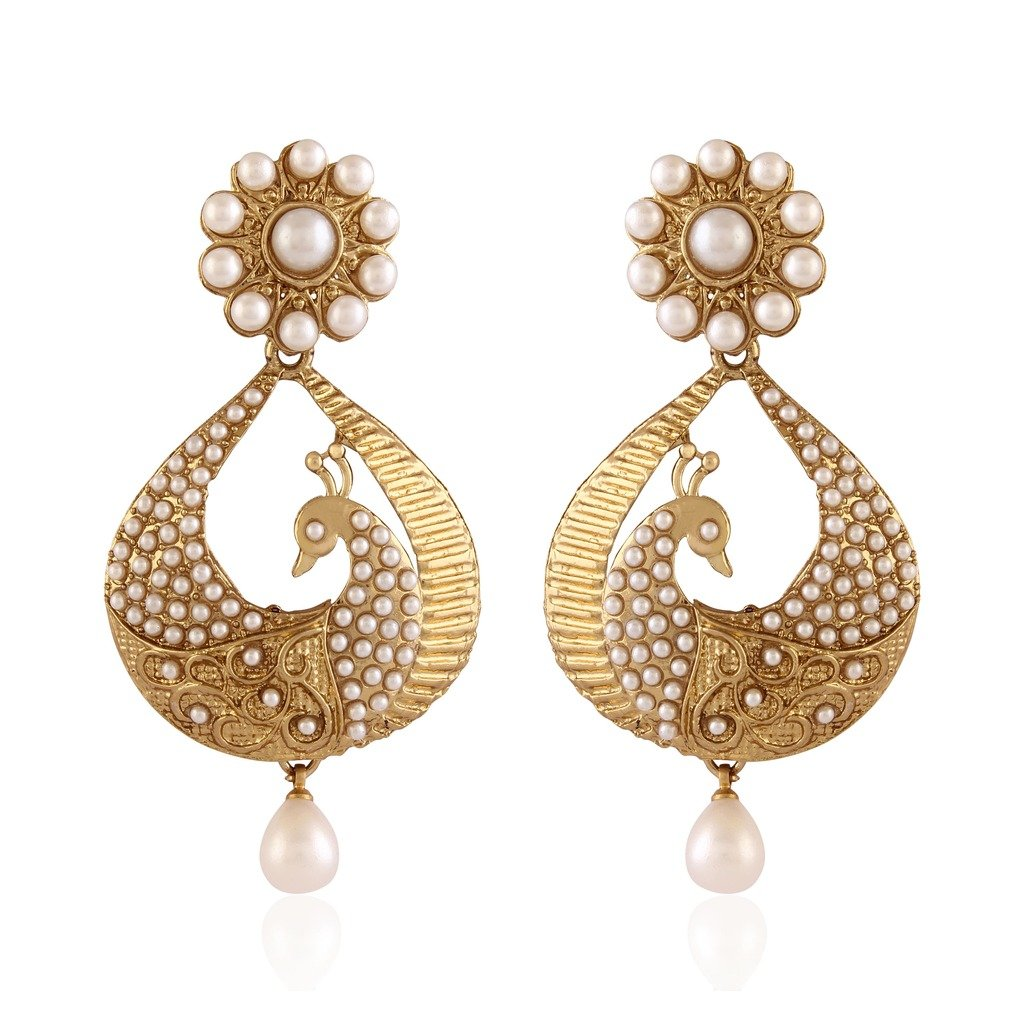 Buy I Jewels Traditional Gold Plated Peacock Shaped Pearl Earrings for Women  EM2251W at Amazon.in