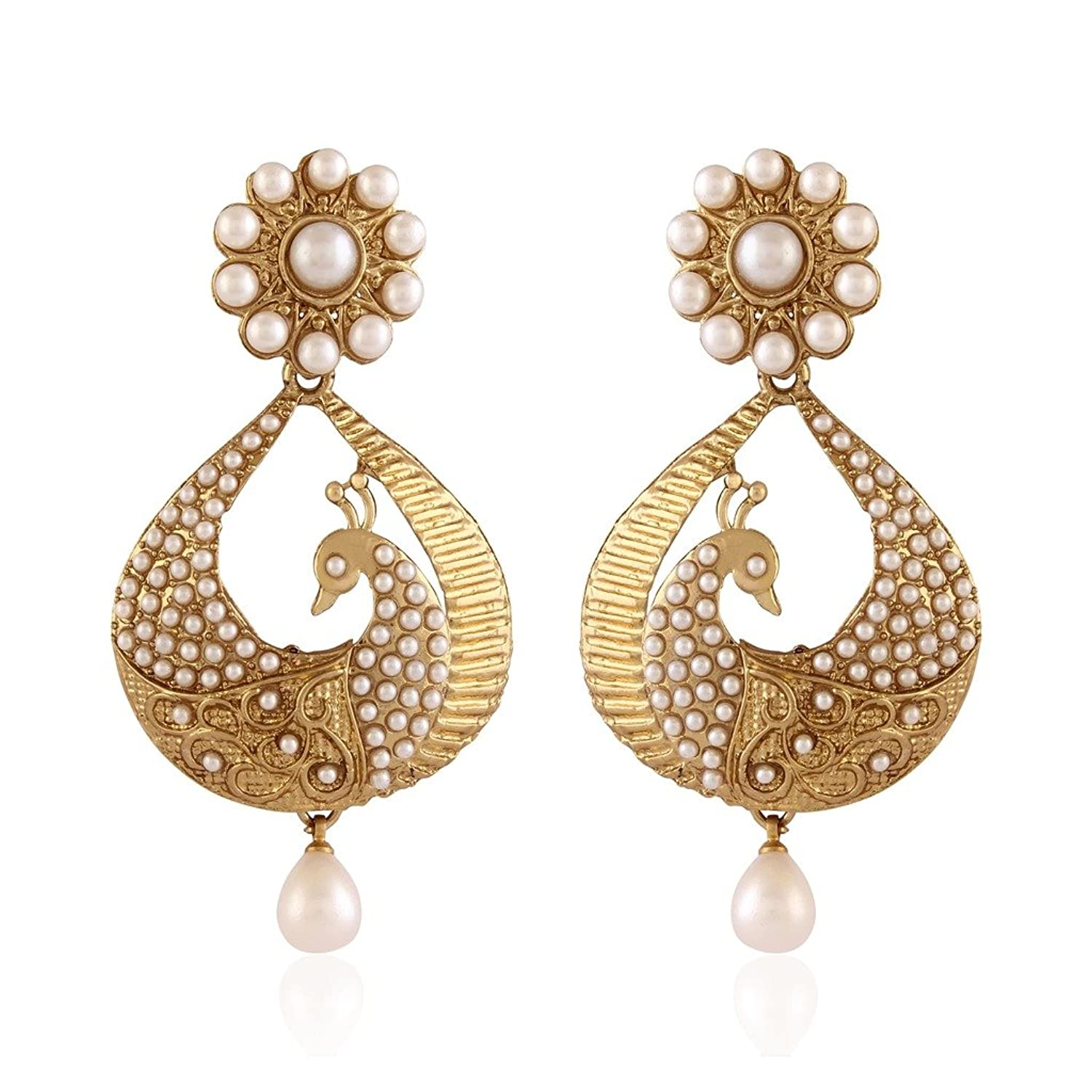 Buy I Jewels Traditional Gold Plated Peacock Shaped Pearl Earrings ...