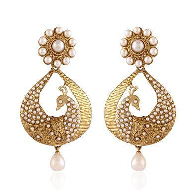 2f97bcf81 Buy I Jewels Traditional Gold Plated Peacock Shaped Pearl Earrings for Women  EM2251W Online at Low Prices in India | Amazon Jewellery Store - Amazon.in