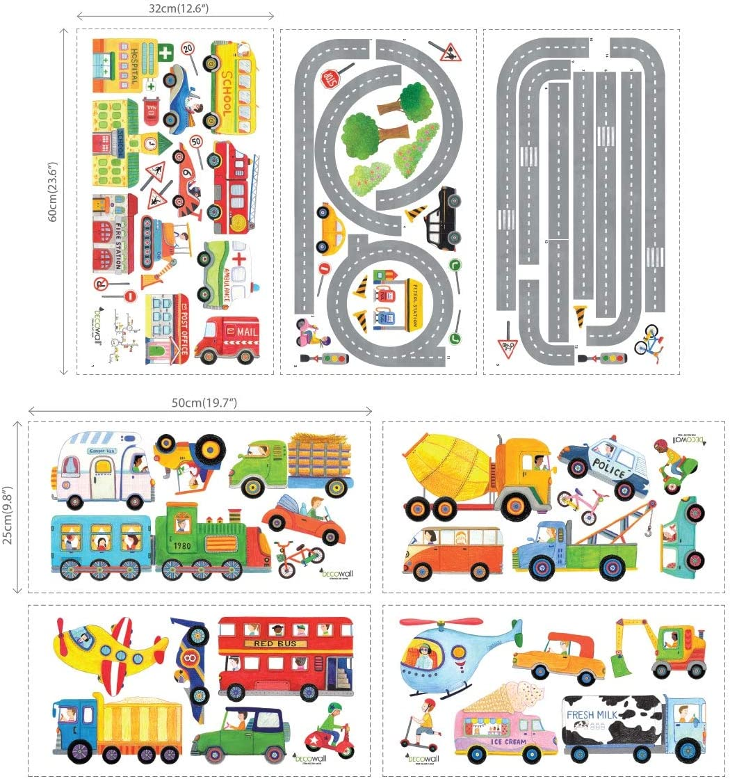Decowall DA-1404P1405 The Road and Transports Kids Wall Stickers Wall Decals Peel and Stick Removable Wall Stickers for Kids Nursery Bedroom Living Room