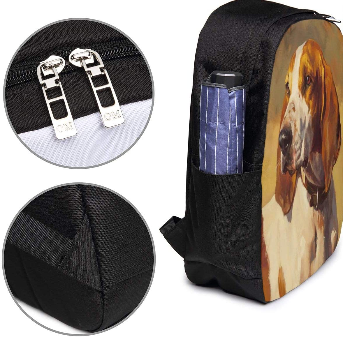 Funny Vintage Basset Hound Dog Personality 17 Inch College School Computer Bag Laptop Backpack with USB Charging Port for Women Men College Student Travel Outdoor Camping Daypack