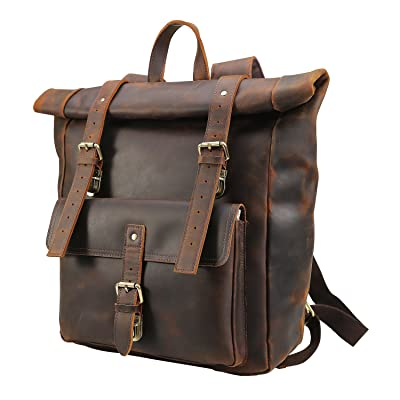"Polare Retro Full Grain Leather 17"" Laptop Backpack Travel Bag Large Capacity"