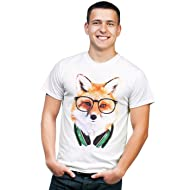 Retreez Funky Nerdy DJ Fox with Headphones & Glasses Graphic Printed T-Shirt Tee
