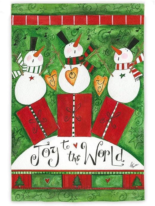 Alegría para el mundo muñecos de nieve jardín bandera: Amazon.es: Jardín