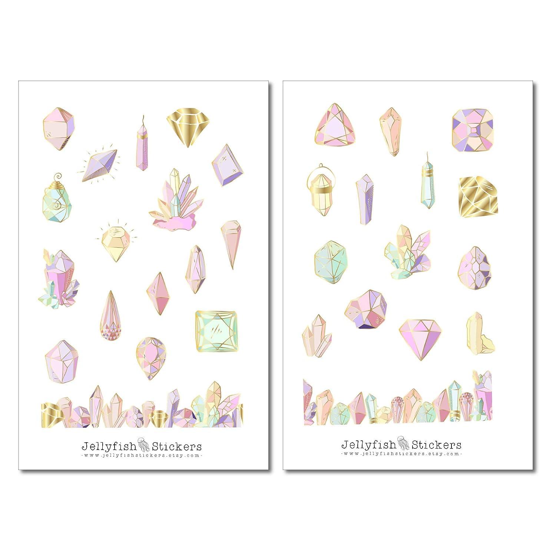 Pastell Kristalle Sticker Set Watercolor Sticker bullet journal sticker Pastell Planersticker Diamant Magie Journal Sticker Steine