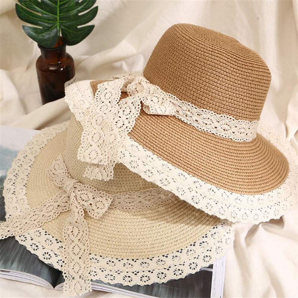 Sun Hat Beautiful Lace Bow Decor Cap for Kid Beach Travel Outdoor Girl Coffee