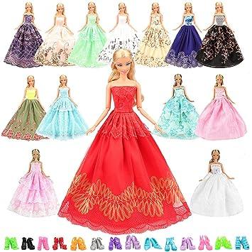 Miunana 5 Hermoso Novia Vestidos De Noche Hechos A Mano Ropa Vestir Boda Fiesta 10 Zapatos Para Muñeca Barbie Doll Regalo