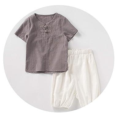 08aa6aaedd137 Amazon.com: Cotton Linen Boys Clothes Set Summer Kids T Shirts + ...