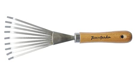 Tierra Garden 35 1805 Stainless Steel Hand Shrub Rake With Ash Wood Handle