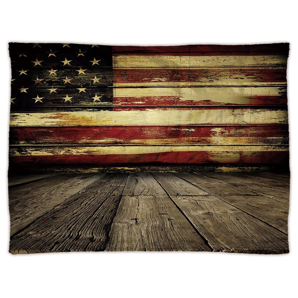 Super Soft Throw Blanket Custom Design Cozy Fleece Blanket,United States,Vintage American Flag on Wooden Planks Wall Background Grunge Print,Umber Cream Red Blue,Perfect for Couch Sofa or Bed