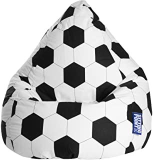 Gouchee Home Brava Collection Contemporary Oversized Cotton Upholstered Soccer Design Bean Bag Chair Black