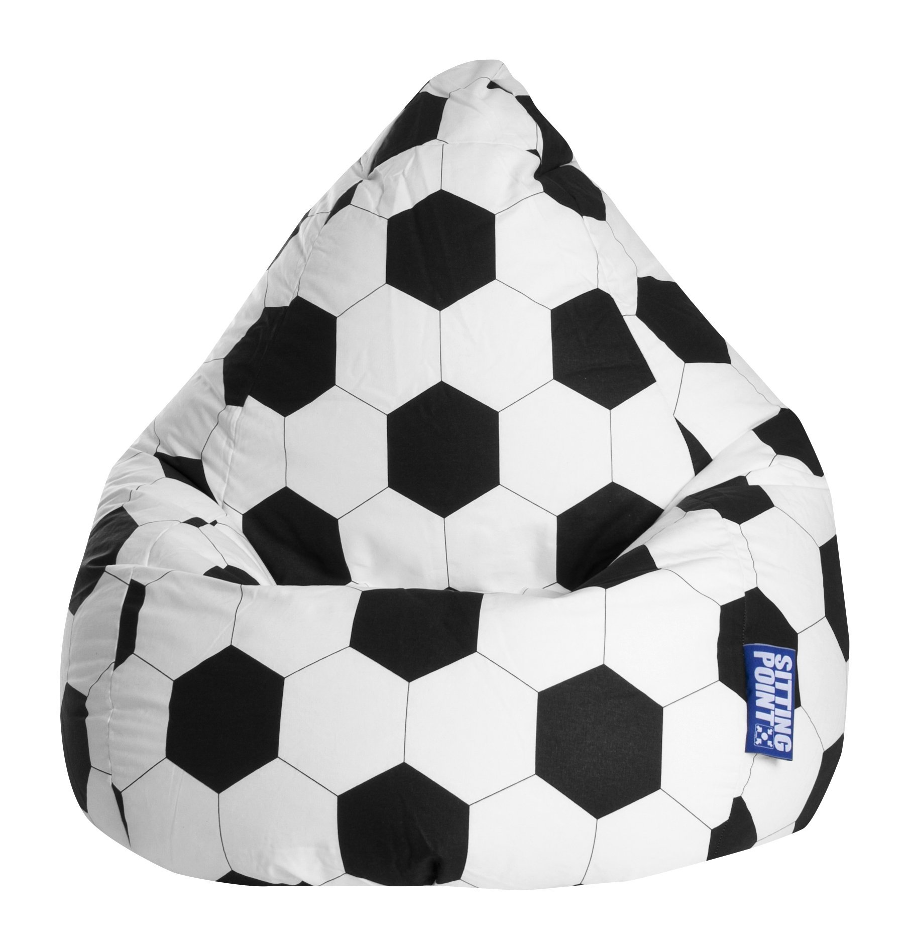 Gouchee Home Brava Collection Contemporary Oversized Cotton Upholstered Soccer Design Bean Bag Chair, Black/White